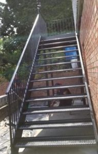 diamond plate metal staircases welded