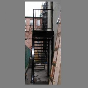 open tread simple steel staircase and guard